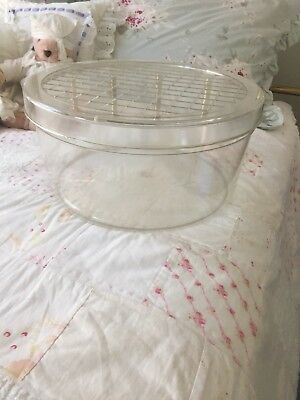 Rare Vintage MCM Hat Box clear round rigid plastic, USA manufactured, Last one!