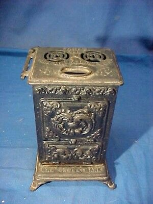 Early 20thc GAS STOVE Figural SAVINGS BANK Cast Iron + Tin