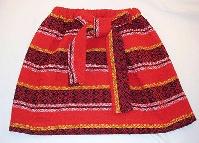 Skirt Girl's Small Indian Design Red/White/Black Wool~Acrylic Child Vintage NEW