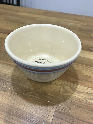 Vintage Pottery Small Mixing Bowl Advertising Inter-State Lumber Co.