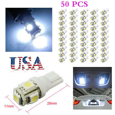 50x T10 5050 5SMD 194 168 LED White Car Side Wedge Tail Light Lamp Super Bright