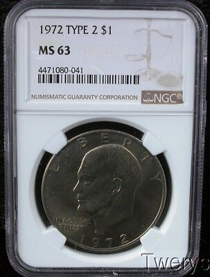 1972 Type 2 $1 Ngc Ms 63 1972 Eisenhower Dollar Type 2 Ike $1