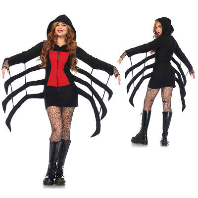 Womens Sexy Cozy Black Widow Spider Costume
