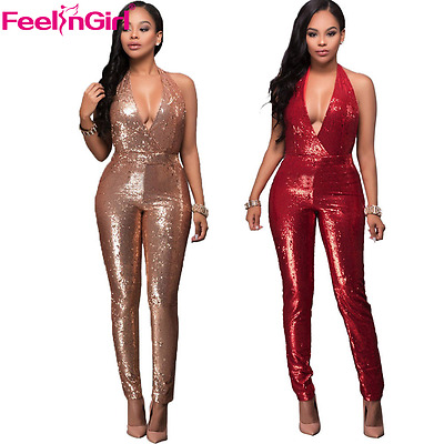 Women's Deep V-Neck Gold Sequined Jumpsuit Bodycon Club Romper Long Trousers