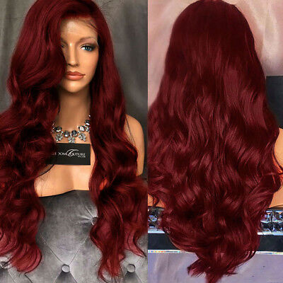 Women Wavy Long Lace Front Free Part High Temperature Synthetic Wig 3 Colors