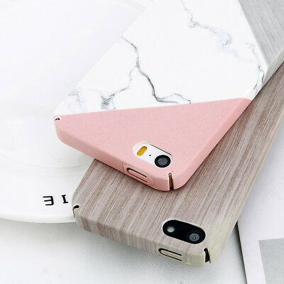 Glossy Granite Marble Contrast Color Hard Phone Cover Case For iPhnoe 5 5S /SE