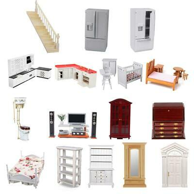 1/12 Miniature Wood Kitchen/Bedroom/Bathroom Furniture Set for Dolls House Decor
