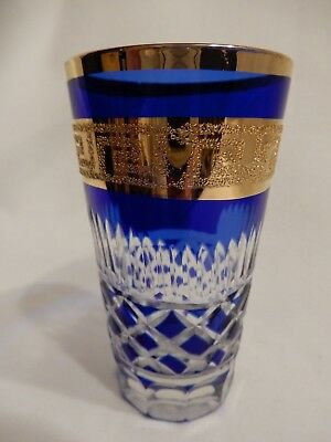 Tall Shot Glass Blue & Clear Cut Glass with Gold Rim and Greek Key Design