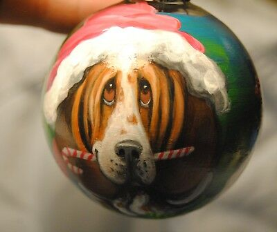 Original Painting~Basset Hound~Dog~Christmas Ornament~Hand Painted~Whimsical~~