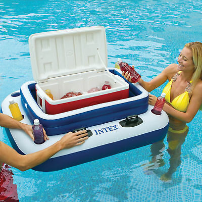 Pool Drinks Cooler Floating Bar Ice Tub Chiller II Inflatable Beer Holder Beach