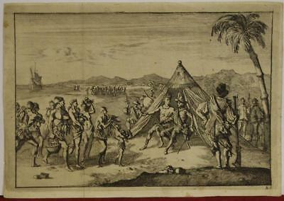 CARIBBEAN (?) SPANIARDS & NATIVES 1690ca AFTER MONTANUS UNUSUAL ANTIQUE VIEW