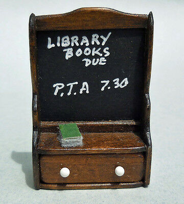 DOLLHOUSE MINIATURE ~ HAND MADE 'WALNUT' MESSAGE BOARD by FRED THUM