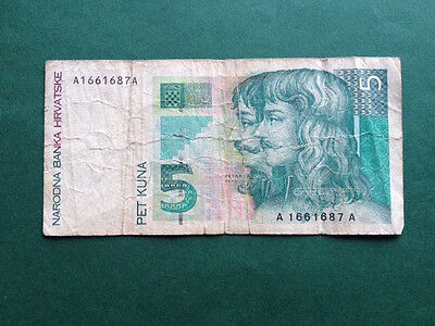 5 (Pet) Croatian Kuna Bank Note