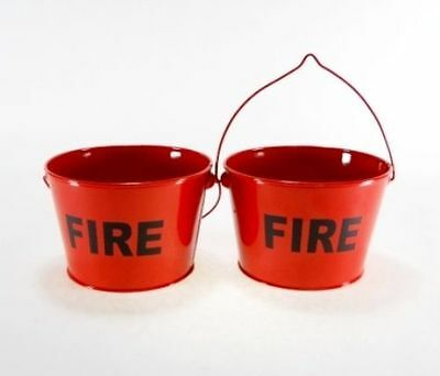 2 pc Set of Metal Red Fire Buckets Ashtrays, New, Free Shipping