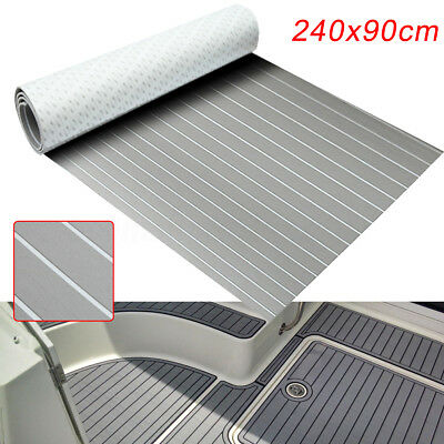 AU 2.4M Marine Flooring Faux Teak EVA Foam Boat Decking Sheet Self-Adhesive Grey