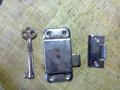 wardrobe lock, 63 mm, keep and key, Made in England, vintage (GW23)