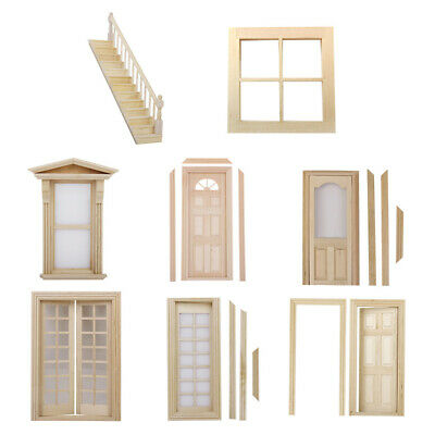 Vintage 1/12 Dollhouse Miniature Unpainted Wood Furniture Staircase Door Window