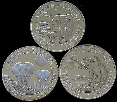 Lot Of 3 -  1 Troy Oz Silver Somalian African Elephant (2014-2016) .999 Bu!