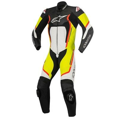 Racing Motegi v2 Leather Motorcycle Suits - Black/White/Yellow/Red/Blue