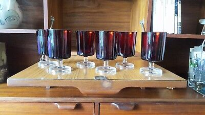 Retro 6 French Ruby Red Glasses Wine/Juice Goblets With Clear Glass Stem