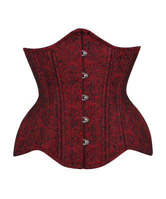 Heavy Duty Waist Trainer Maroon Brocade Curvy Corset with 100% Cotton Lining