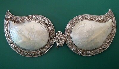 ANTIQUE Gorgeous silver alloy + pearl belt buckle - holy birth - INSCRIPTION