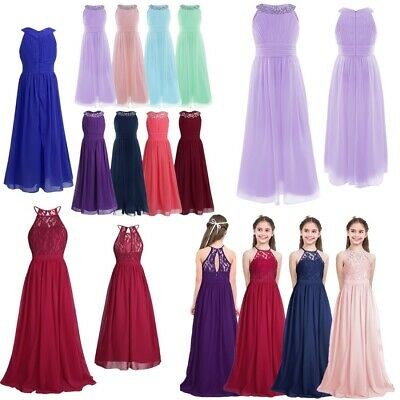 Lace Chiffon Flower Girl Wedding Pageant Formal Jr. Bridesmaid Long Maxi Dress