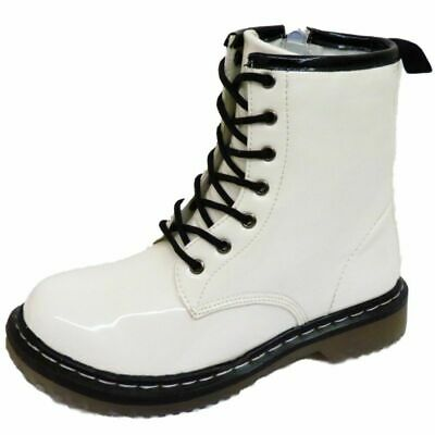 Girls Kids Childrens White Patent Lace-Up Bovver Retro Ankle Boots Shoes Uk 10-3
