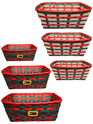 Set of 3 Traditional Christmas Basket Hamper Red Green Wicker Storage Stackable