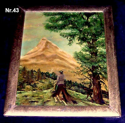 RARE !! Antique Germany 18/19th Century Painting Oil on Wood Signature Kaplan
