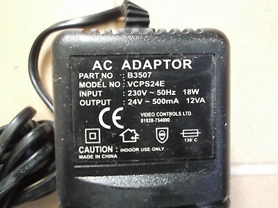 AC Mains Power Adaptor/Supply/Charger/PSU 500MA/0.5 AMP 24 Volt High Quality
