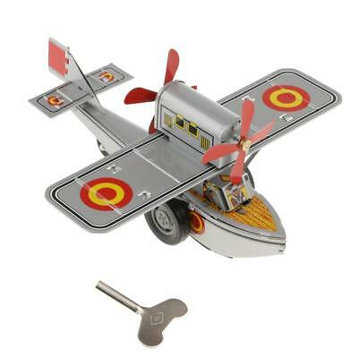 Vintage Propeller Aircraft Model Wind-up Clockwork Tin Toys Collection Gifts