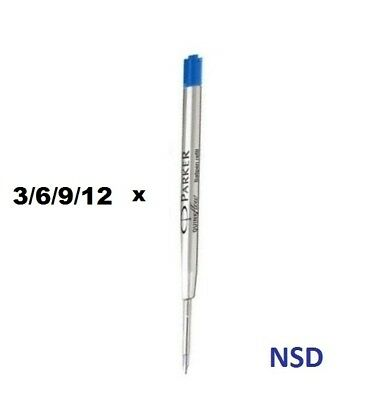 100% Genuine Parker Medium Ball Point Refill - Blue Colour - Pack of 3/6/9/12