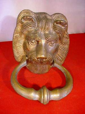 Vintage / Antique Heavy Brass Lion Door Knocker Figural Architectural Old