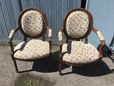 Beautiful Pair Of French Walnut Framed Armchairs Carved Detail