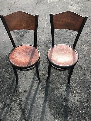 Fantastic rare pair of tortoise shell patten fischel bentwood chairs 1900 cafe