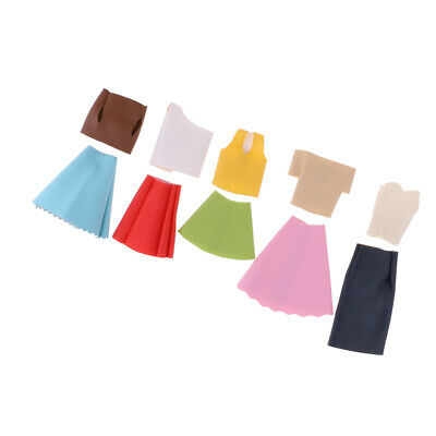 10Pcs Fashion Daily Wear Dress Outfits Clothes For Barbie Doll Shirt Tops