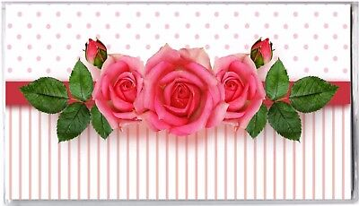 Floral Checkbook Cover - Pink Roses with Stripes and Dots