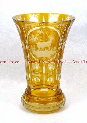 Beautiful 1950s Moser Bohemian Amber Glass Cut To Clear Deer Stag Vase