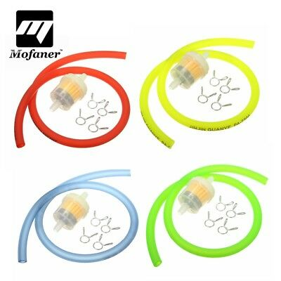 6mm Gas Fuel Filter Petrol Pipe Hose Line + 4 Clips Moto Scooter Dirt Bike ...