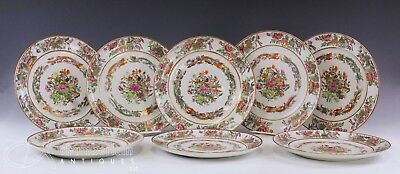 Gorgeous Set Of 8 Large Antique Chinese Famille Rose Porcelain Plates W Deer