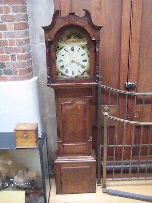 Antique Rawson Of Alfreton Oak & Mahogany Cased Grandfather/Longcase Clock