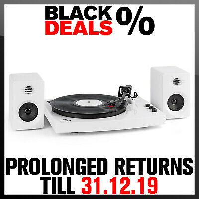 Vinyl turntable Record player 2 Stereo speakers system bluetooth Wireless White