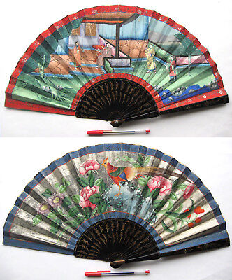 Antique Chinese Cantonese Macao School Export Lacquered 1000 Faces Fan 清朝 c 1835