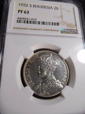 INV #S37 British Africa Southern Rhodesia 1932 2 Shilling NGC Proof-62