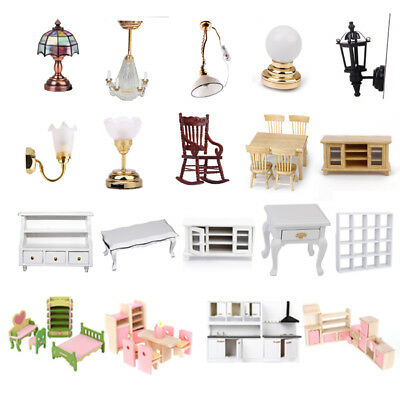 Dolls Furniture Dollhouse Family Miniature Room Working Lamp End Table Cabinet