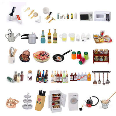 1/12 Dolls House Miniature Kitchen Food Wine Bottles Cups Bathroom Shampoo Accs