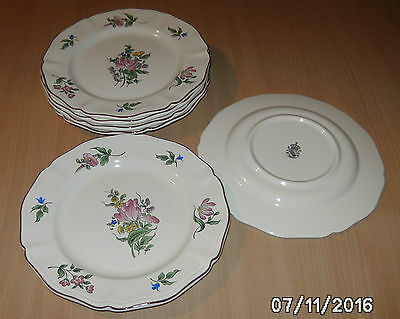 Lot De 6  Assiettes A Dessert Luneville Kg France Reverbere Rose Et Tulipes