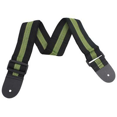 Green Adjustable Guitar Strap Belt Leather End for Acoustic Electric Guitar