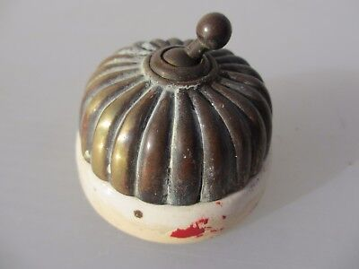 Vintage Brass & Ceramic Light Switch Architectural Antique Old Jelly Mould Dolly